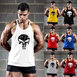 a2db4b7682ccd8 Image is loading Men-Punisher-Bodybuilding-Vest-Gym-Sleeveless-Fitness-Tank-