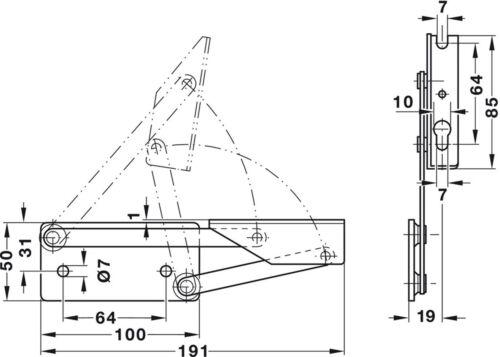 12 kg MAX Siège Haut Chaise poids Printemps Paire de Hafele banquette charnières en acier