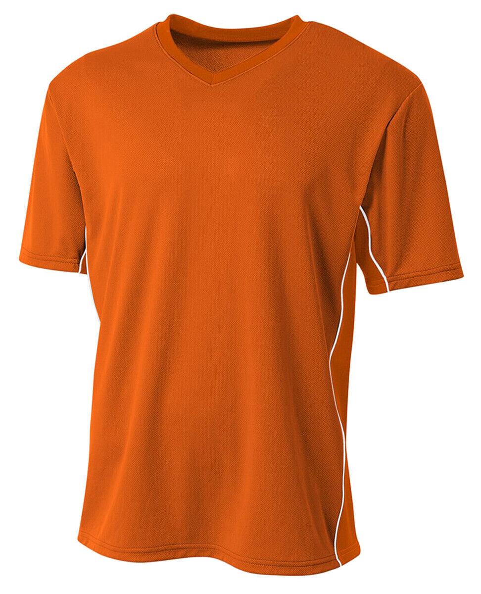 A4 Men's Short Sleeve Athletic Liga Soccer Jersey Polyester V-Neck Shirt. N3018