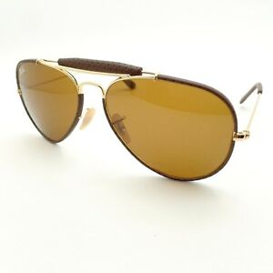 Ray Ban Sunglasses 3422Q 9041 Brown Leather Polarized New Authentic ... b1fe26278e