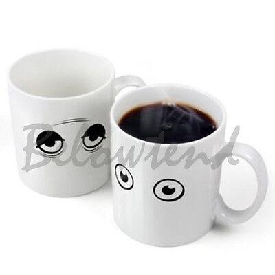 Hot Amazing Wake Up Eyes Magic Changing Mugs Temperature Ceramic Coffee Cup