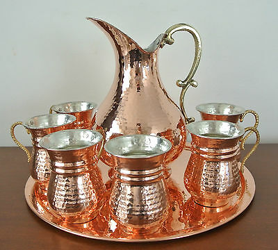 Turkish AYRAN Water Drink Set Pure Copper MASRAPA STOUP, EWER IBRIK, TRAY