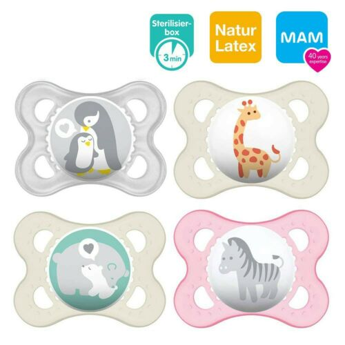 ages 0-6 months set of 4 Mam natural rubber latex dummy including 2 steril...