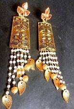 Polki Indian Party American Western party Meenakari Pearl Steps 12 cm Earrings
