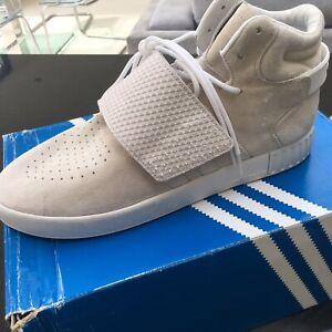 Adidas-Tubular-Invader-Sangle-Beige-Blanc-en-Cuir-et-Daim-Baskets-Hommes-uk-11-5-46