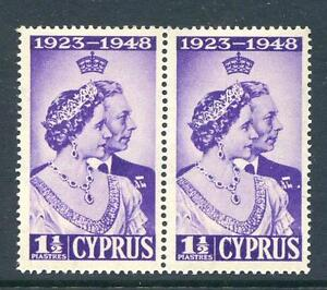 Cyrpus-1946-Silver-Wedding-1-p-039-extra-medal-039-variety-mint-pair-2017-06-18-01