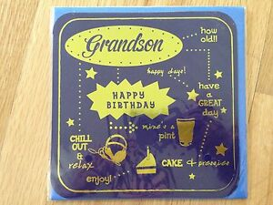 Image Is Loading Grandson Happy Birthday Greetings Card Pint Cake Present