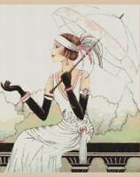 Counted Cross Stitch Art Deco Lady With Umbrella - Complete Kit - No.1-21 Kit