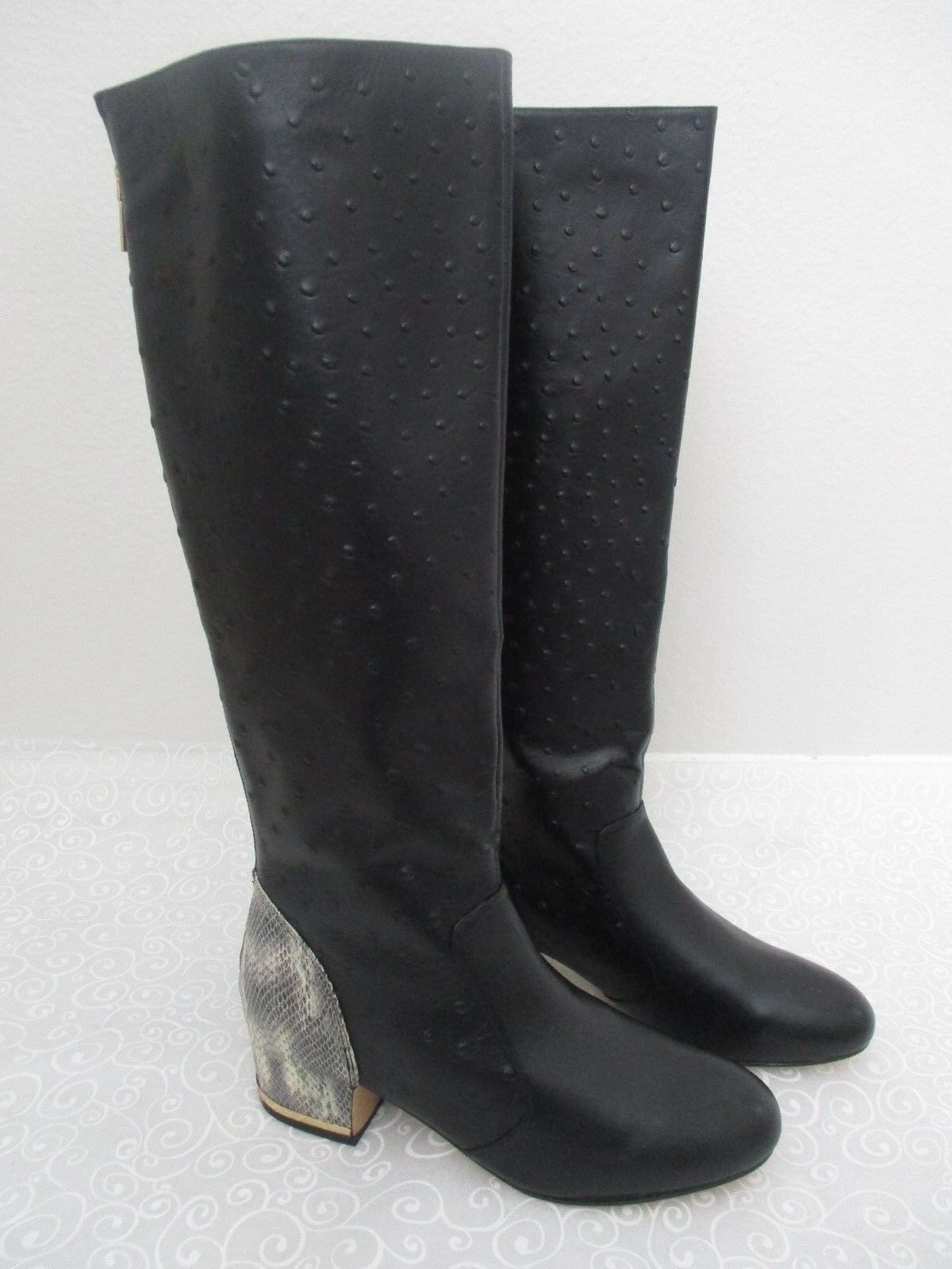 $239 DEESIGNS BLACK OSTRICH LEATHER KNEE 9 HIGH BOOTS SIZE 9 KNEE M - NEW 1ab09b