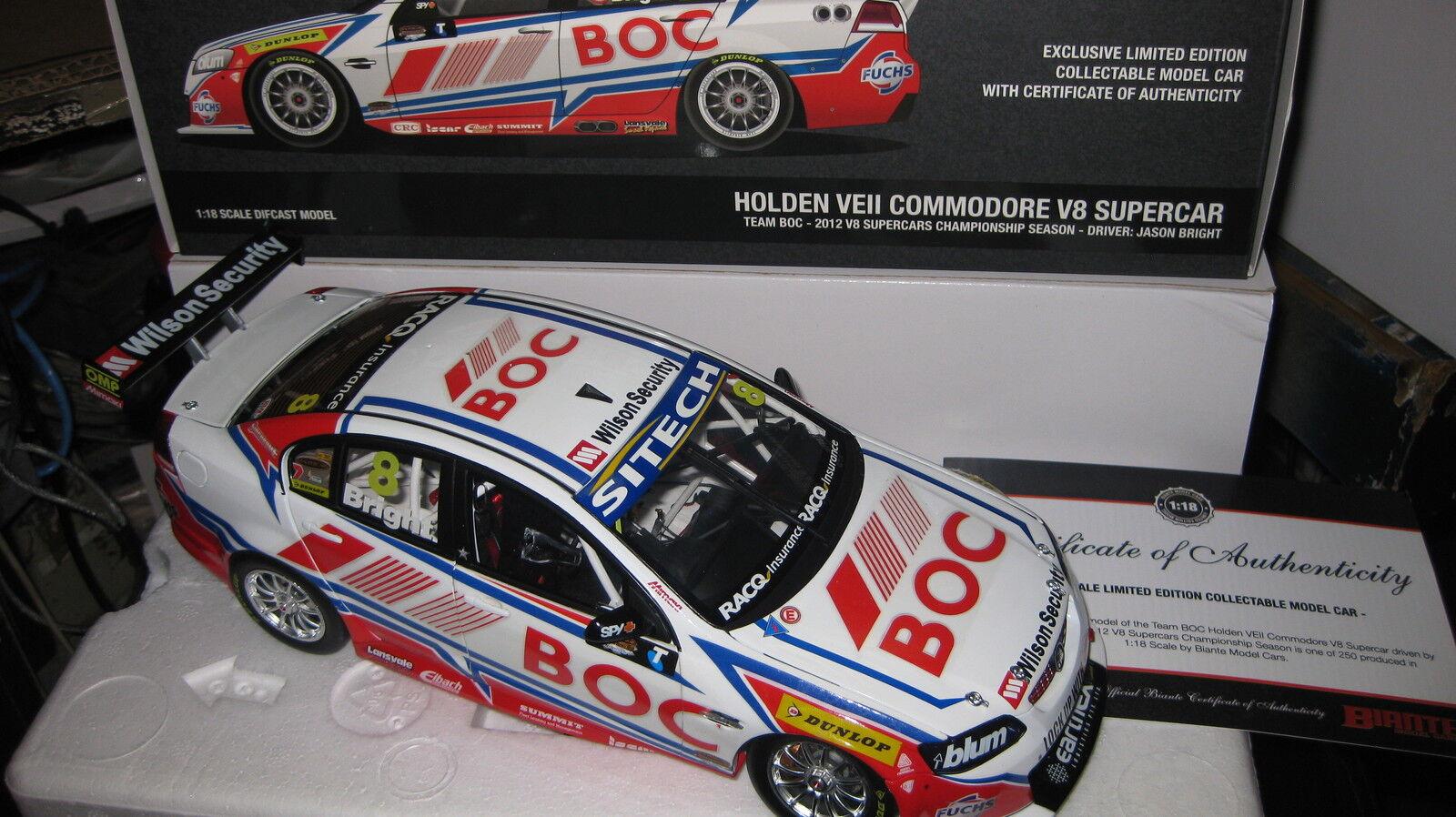 BIANTE 1 18 JASON BRIGHT 2012 TEAM BOC HOLDEN VE II COMMODORE V8  ONLY 250 MADE