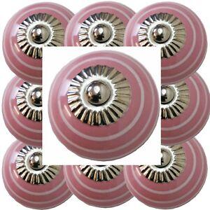 Moebelknoepfe-Set-6-8-10-STK-Griffe-Rosa-Weiss-Keramik-Knoepfe-Moebelknopf-161