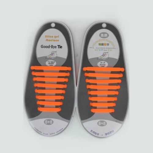 16Pcs Unisex Lazy Shoe Laces NO Tie Silicone Elastic Sneaker Shoelaces Colorful