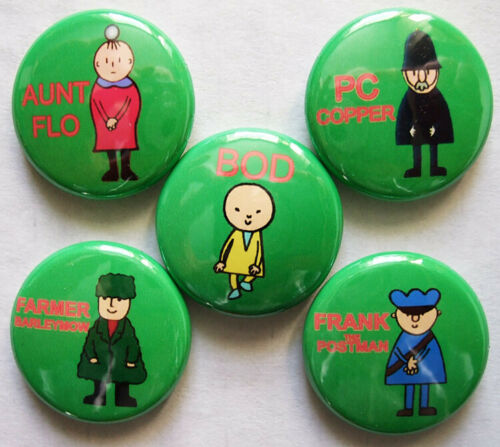 RETRO CLASSIC! BOD AND FRIENDS set of FIVE small Badge Button Pins