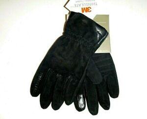 Timberland mens 3M designer goat suede touch finger leather gloves sz:Med -black
