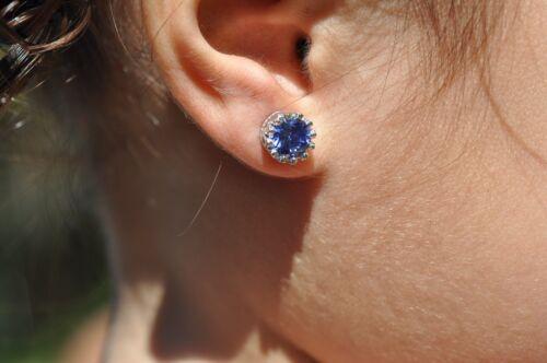 TANZANITE   STUDS EARRINGS 7mm 1.2ct EACH .925 STERLING SILVER