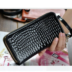 New Double Layer Zip Faux Leather Wallet Wristlet Purse Clutch Bag Phone Holder