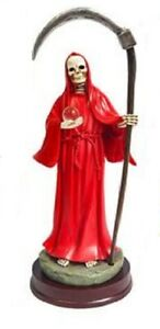 9-034-Red-Santa-Muerte-Statue-Holy-Death-Grim-Reaper-Sculpture-Figure