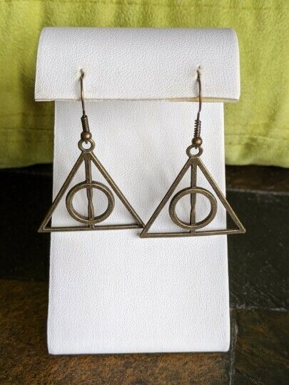 Deathly Hallows bronze dangle earrings