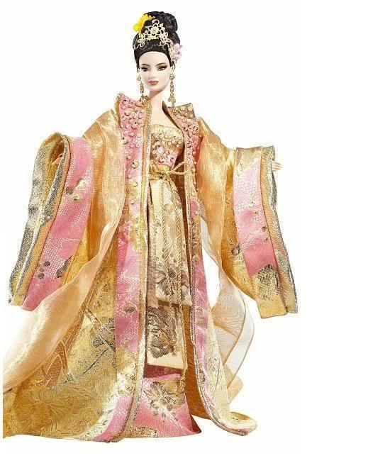 Emperatriz de la flor de oro muñeca Barbie Asiática nuevo embarcador oro Label Raro 2008
