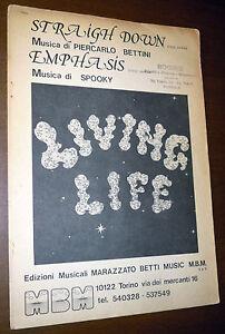 SPARTITO LIVING LIFE Straight down/Emphasis (Mbm 1978) Italian prog rock RARO!