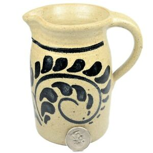 Vintage-New-Geneva-Stoneware-Co-Salt-Glaze-Pitcher-Artist-Signed-Nopwasky-1984