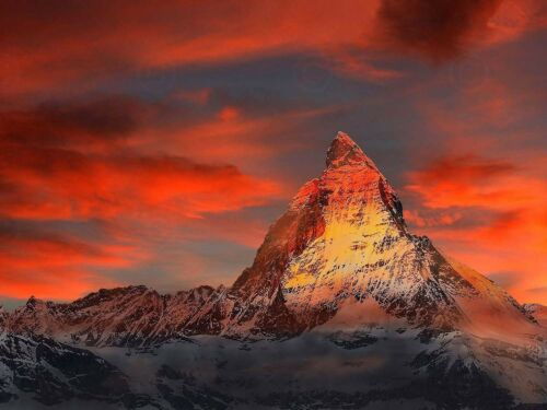 Photo Switzerland Alps Matterhorn Sunset Canvas Art Print