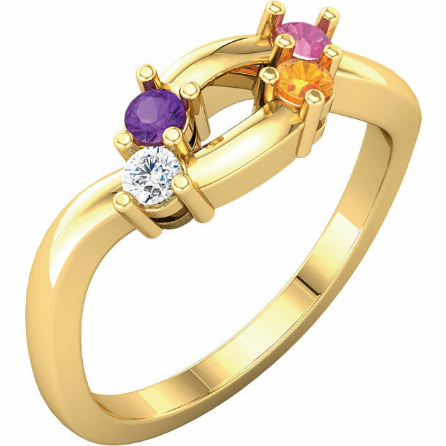 10K or 14K Solid gold Mother's Ring 1 to 6 Birthstones, Family Jewelry Ring