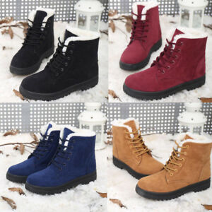 Women-Ladies-Winter-Warm-Suede-Fur-Lined-Lace-up-Ankle-Boots-Snow-Boots-Shoes