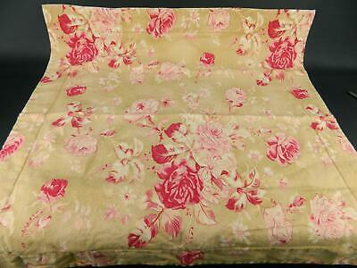 Pottery Barn Tan Red Pink Manchester Rose Floral Cotton