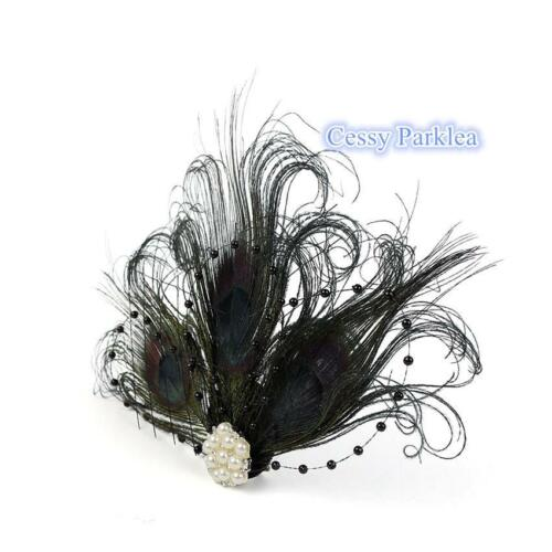 Peacock Gatsby Headpiece Flapper 1920s Costume Feather Headband Ivory Black