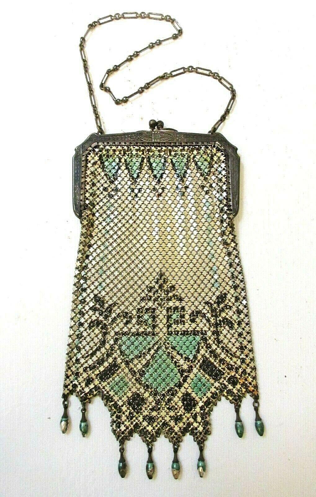 Antique Mandalian Mesh Enamel Purse 8 Drops Turqu… - image 1