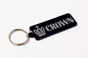 Toyota-Crown-Keyring-Brushed-Chrome-Effect-Classic-Car-Keytag-Keyfob
