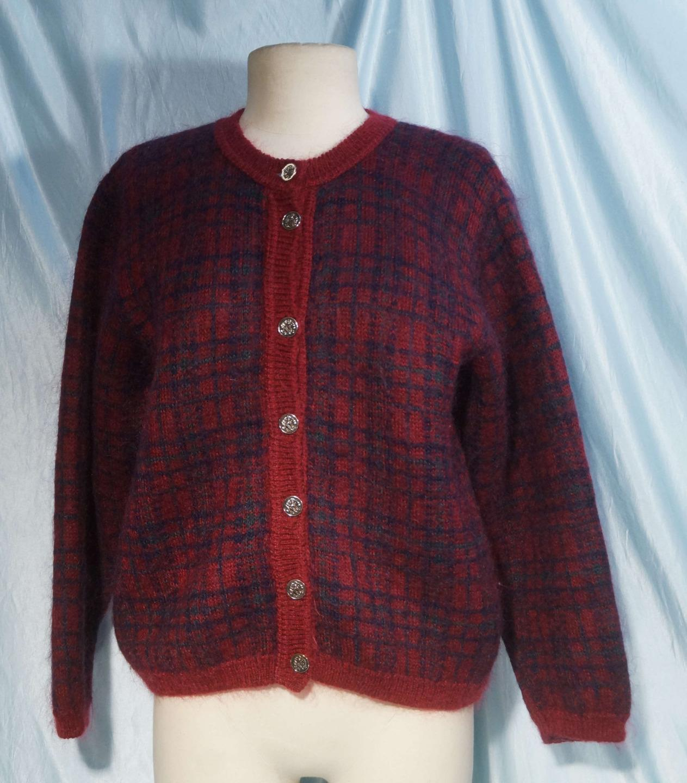Nice Burgundy bluee Green Plaid EDiNBURGH Mohair Blend Cardigan Sweater M 38-40