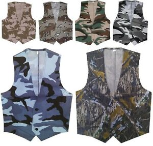 UNISEX-MENS-BOYS-LIGHTWEIGHT-WAISTCOAT-FANCY-DRESS-ARMY-CAMO-COMBAT-SOLDIER