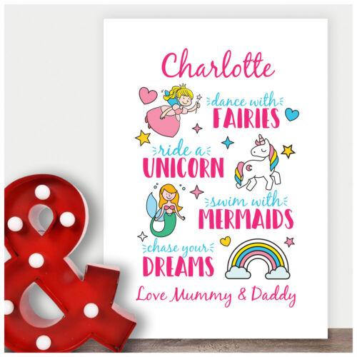 Personalised Birthday Gifts for Girls Her Fairy Unicorn Mermaid Wall Art Prints