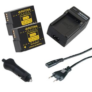 2x Batteria Patona caricabatteria casa//auto per Panasonic Lumix DMC-FZ1000