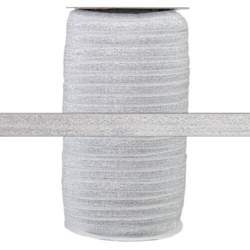 100 Yard Spool Fold Over Elastic Silver Glitter Fairy 5//8in Wide FOE