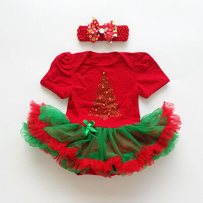 Infant Baby Girl Christmas Xmas Party Romper Dress + headband Clothes Outfits