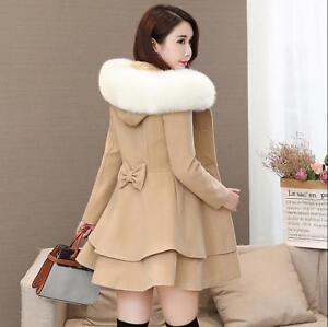 Women/'s Double-breasted Slim Cloak Parka Coat Mid-long Woolen Thick Outwear Sbox