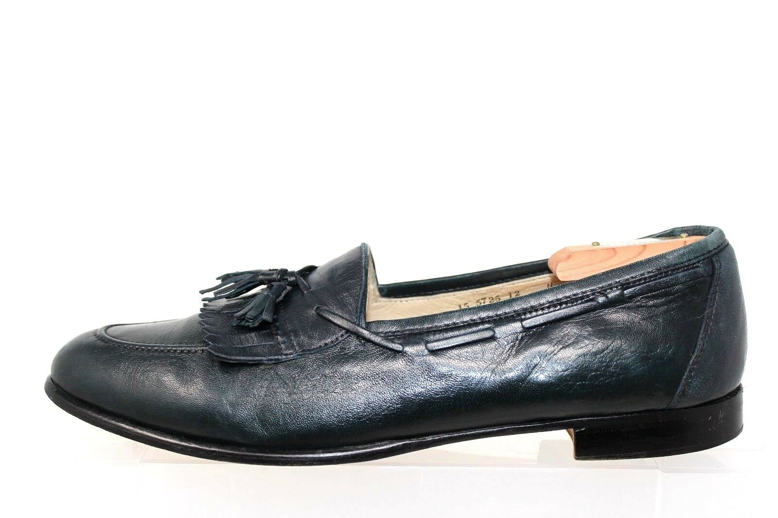 Johnston Murphy bluee Leather Kiltie Tassel Slip On Dress Loafers  12N