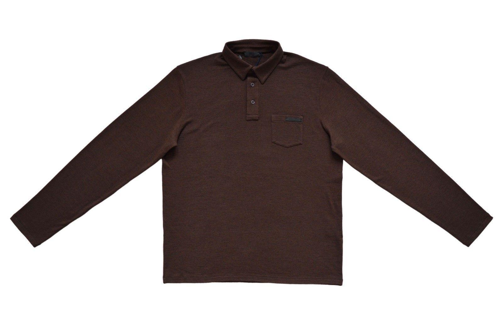 New With Tags NWT PRADA  Herren Virgin Wool Polo Sweater Größe XL