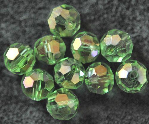 AH5-12 10 GLASPERLEN KUGELN FACETTIERT MIT AB 8 MM GRÜN