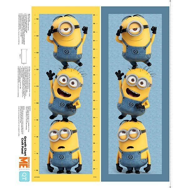 Millions of Minions QT Fabric Growth Chart Panel Minion Despicable Me 36 X  44 in