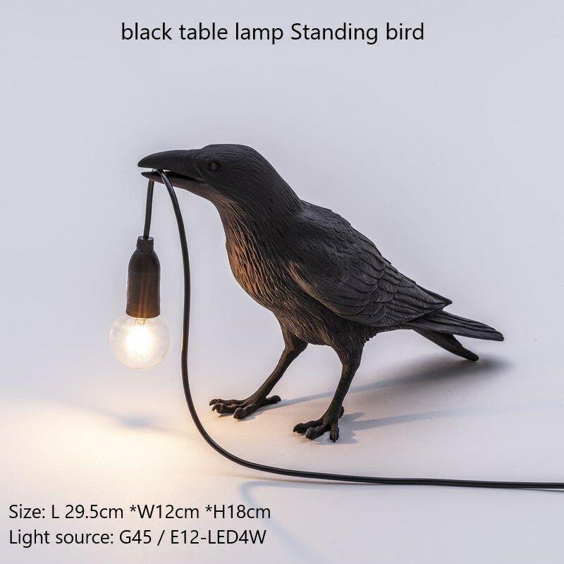 Raven Lamp Wall Light Black Novelty Bird Resin Crow Bedside Fixture Sconce