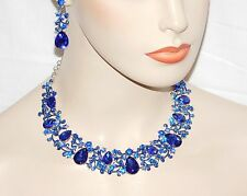 Royal Blue Sapphire Rhinestone Crystal Necklace & Earrings Set /16146
