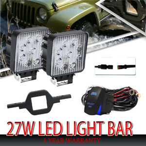 Cube-LED-Work-Light-Pod-Spot-Beam-Fog-Driving-Lamp-4inch-27W-6000K-2Pcs