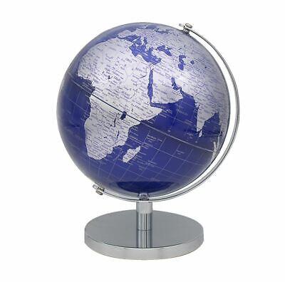 CONTEMPORARY BLUE /& GOLD MEDIUM GLOBE ON METAL BASE ATLAS TABLE DESK ORNAMENT