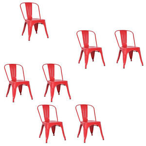 Superb Details About Glossy Red Tolix Metal Stack Industrial Chic Dining Chair Commercial Qual 1 2 4 Machost Co Dining Chair Design Ideas Machostcouk