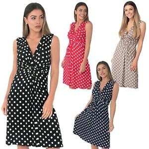 Womens-Dot-Print-Dress-Retro-Vintage-Pleated-Mini-V-Neck-Wrap-Top-Swing-Party