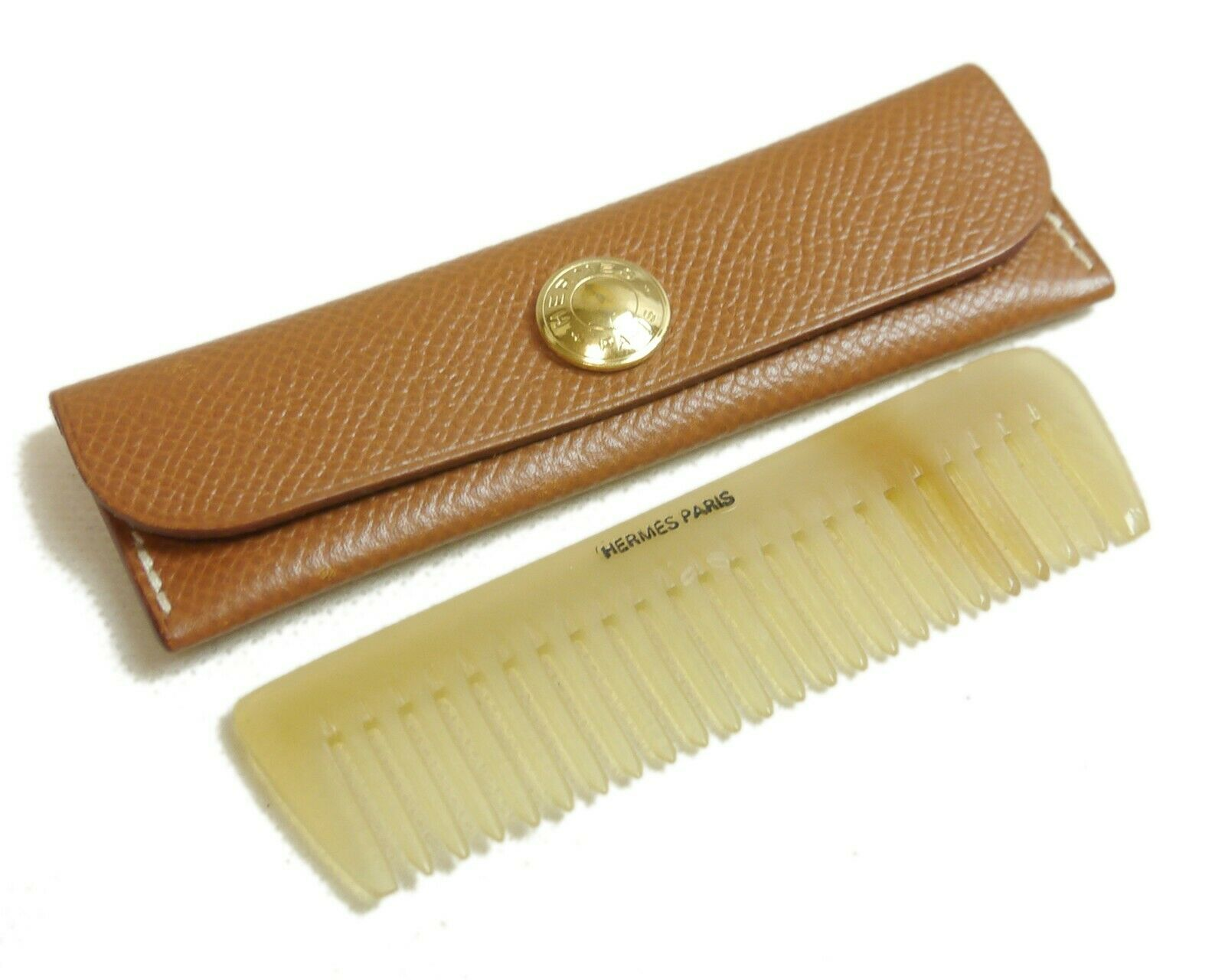 Authentic HERMES Hairbrush comb Leather #4391